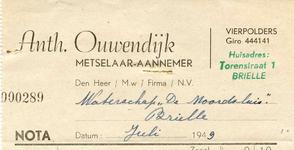 VP_OUWENDIJK_003 Vierpolders, Ouwendijk - Anth. Ouwendijk, Metselaar - Aannemer, (1949)