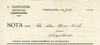 VP_OUWENDIJK_005 Vierpolders, Ouwendijk - S. Ouwendijk, Metselaar , (1920)