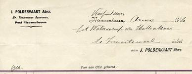VP_POLDERVAART_002 Vierpolders, Poldervaart - J. Poldervaart Abrz., Mr. Timmerman, Aannemer, (1926)