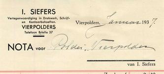 VP_SIEFERS_001 Vierpolders, Siefers - I. Siefers, Vertegenwoordiging in drukwerk, schrijf- en kantoorbehoeften I. ...