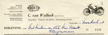 VP_WALBEEK_005 Vierpolders, Van Walbeek - C. van Walbeek, Lid van B.O.V.A.G. Rijwielen, motoren, radio, ...