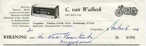 VP_WALBEEK_006 Vierpolders, Van Walbeek - C. van Walbeek, Lid van B.O.V.A.G. Rijwielen, motoren, radio, ...