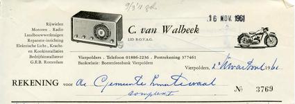 VP_WALBEEK_007 Vierpolders, Van Walbeek - C. van Walbeek, Lid van B.O.V.A.G. Rijwielen, motoren, radio, ...