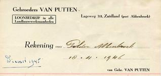ZL_PUTTEN_001 Zuidland, Van Putten - Gebroeders van Putten, Loonbedrijf in alle landbouwwerkzaamheden, (1946)