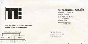 ZL_WILDENBOS_003 Zuidland, Wildenbos - Ph. Wildenbos, Groothandel in tabaksartikelen, koffie, thee en zoetwaren, (1979)