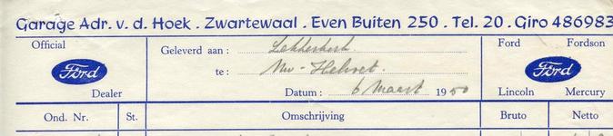 ZW_HOEK_005 Zwartewaal, Van der Hoek - Garage Adr. v.d. Hoek, Official Ford dealer, (1950)