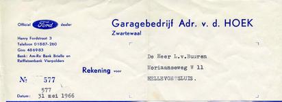ZW_HOEK_006 Zwartewaal, Van der Hoek - Garagebedrijf Adr. v.d. Hoek, Official Ford dealer, (1966)