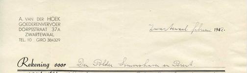 ZW_HOEK_007 Zwartewaal, Van der Hoek - A. van der Hoek, Goederenvervoer, (1942)