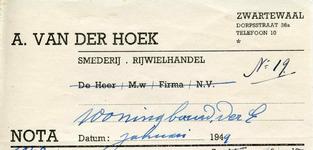 ZW_HOEK_008 Zwartewaal, Van der Hoek - A. van der Hoek, Smederij - Rijwielhandel, (1949)