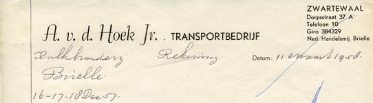 ZW_HOEK_009 Zwartewaal, Van der Hoek - A. v.d. Hoek Jr., Transportbedrijf voor al uw transporten, (1958)
