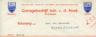 ZW_HOEK_011 Zwartewaal, Van der Hoek - Garagebedrijf Adr. v.d. Hoek, Official Dealer Ford, Mercury, Lincoln, (1950)