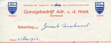 Zwartewaal, Van der Hoek - Garagebedrijf Adr. v.d. Hoek, Official Dealer Ford, Mercury, Lincoln, (1954)