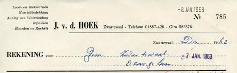 ZW_HOEK_013 Zwartewaal, Van der Hoek - J. v.d. Hoek, Lood- en Zinkwerken. Mastiekbedekking. Aanleg van waterleiding. ...