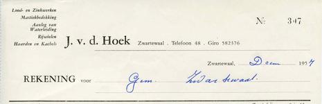 Zwartewaal, Van der Hoek - J. v.d. Hoek, Lood- en Zinkwerken. Mastiekbedekking. Aanleg van waterleiding. Rijwielen. ...