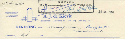 ZW_KIEVIT_001 Zwartewaal, De Kievit - A.J. de Kievit, Timmerman - Aannemer, (1961)