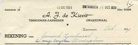 Zwartewaal, De Kievit - A.J. de Kievit, Timmerman - Aannemer, (1959)