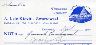 Zwartewaal, De Kievit - A.J. de Kievit, Timmerman - Aannemer, (1962)