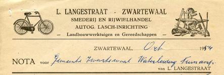 ZW_LANGESTRAAT_003 Zwartewaal, Langestraat - L. Langestraat, Smederij en rijwielhandel. Autogene lasch-inrichting. ...