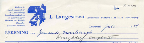 ZW_LANGESTRAAT_004 Zwartewaal, Langestraat - L. Langestraat, Elektrische landbouwsmederij en lasinrichting. ...