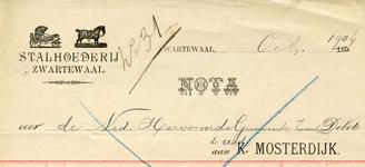 ZW_MOSTERDIJK_001 Zwartewaal, Mosterdijk - K. Mosterdijk, Stalhouderij, (1904)