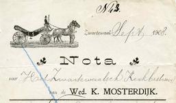 ZW_MOSTERDIJK_002 Zwartewaal, Mosterdijk - Wed. K. Mosterdijk, Stalhouderij, (1908)