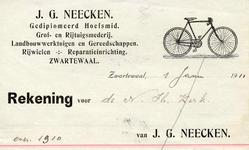 ZW_NEECKEN_001 Zwartewaal, Neecken - J.G. Neecken, Gediplomeerd hoefsmid. Grof- en rijtuigsmederij. Landbouwwerktuigen ...