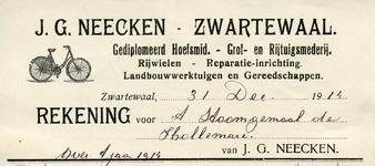 ZW_NEECKEN_003 Zwartewaal, Neecken - J.G. Neecken, Gediplomeerd hoefsmid. Grof- en rijtuigsmederij. Rijwielen. ...