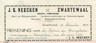 ZW_NEECKEN_005 Zwartewaal, Neecken - J.G. Neecken, Gediplomeerd hoefsmid. Grof- en rijtuigsmederij. Landbouwwerktuigen ...