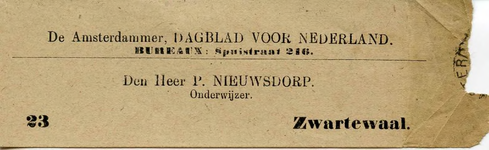 ZW_NIEUWSDORP_001 Zwartewaal, Nieuwsdorp - Den Heer P. Nieuwsdorp, Onderwijzer, (z.d)