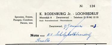 ZW_RODENBURG_001 Zwartewaal, Rodenburg - K. Rodenburg Jr., Loonbedrijf. Sproeien, Frezen, Ploegen, Combine, Persen ...