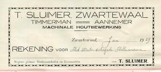 ZW_SLUIMER_001 Zwartewaal, Sluimer - T. Sluimer, Timmerman - Aannemer. Machinale houtbewerking, (1929)