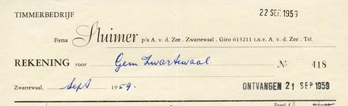ZW_SLUIMER_003 Zwartewaal, Sluimer - Timmerbedrijf Firma Sluimer, p/a A. v.d. Zee, (1959)