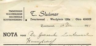 ZW_SLUIMER_004 Zwartewaal, Sluimer - T. Sluimer, Timmerman, wagenmaker, machinale houtbewerking, (1951)