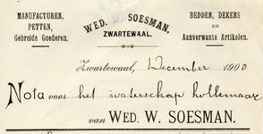 ZW_SOESMAN_001 Zwartewaal, Soesman - Wed. W. Soesman, Manufacturen, petten, gebreide goederen. Bedden, dekens en ...