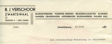 ZW_VERSCHOOR_001 Zwartewaal, Verschoor - B.J. Verschoor, Bloemkweekerij. Moderne binderij. Bruidsbouquetten. ...