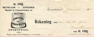 ZW_VRIJ_001 Zwartewaal, Vrij - H. Vrij, Metselaar - Aannemer. Handel in cementwerken en gewapend en ongewapend beton, (1912)