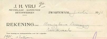 ZW_VRIJ_002 Zwartewaal, Vrij - J.H. Vrij, Metselaar - Aannemer. Betonwerken, (1931)