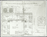 TA_MIL_045 Plattegrond van de beneden Etage van de Garnizoens Ziekenzaak te Brielle voor 115 Eenmans Kribben,