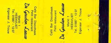 LD1005. Café, bar, dioscotheek, petit restaurant De Gouden Leeuw.