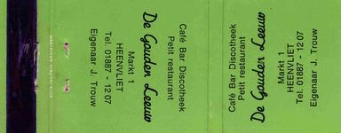 LD1006. Café, bar, dioscotheek, petit restaurant De Gouden Leeuw.