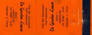 LD1007. Café, bar, dioscotheek, petit restaurant De Gouden Leeuw.