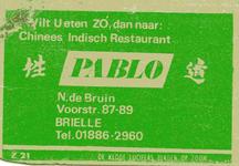 LD2007. Wilt u eten zó, dan naar chinees indisch restaurant Pablo.