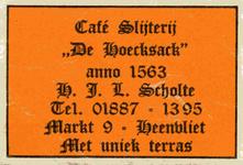 LD2018. Café Slijterij De Hoecksack, anno 1563 - met uniek terras.