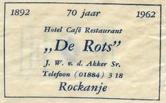SZ1130. Hotel, Café, Restaurant De Rots - 70 jaar.
