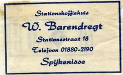 SZ1419. Stationskoffiehuis W. Barendregt.