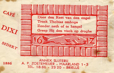 SZ0162. Cafe, annex slijterij Dixi.