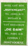 SZ0940. Hotel, Café, Restaurant Buitenlust | Café Restaurant De Dam.