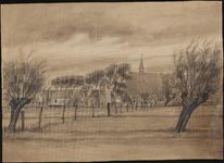 SPUIJBROEK_021A Het dorp van Oudenhoorn, gezien vanuit de polder, ca. 1955