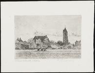 SPUIJBROEK_037 Wieders zijn bezig op een akker in de polder van Nieuw-Helvoet. Op de achtergrond het dorp met de kerk, ...