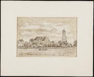 SPUIJBROEK_037A Wieders zijn bezig op een akker in de polder van Nieuw-Helvoet. Op de achtergrond het dorp met de kerk, ...